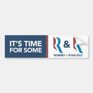 Tiempo de Mitt Romney Ryan para un cierto R y el p Pegatina Para Auto
