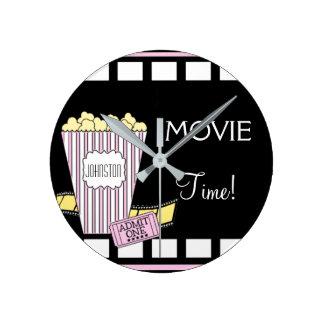 Tiempo de película del teatro casero reloj redondo mediano