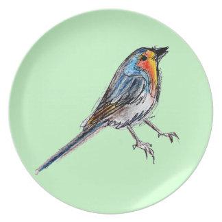 Tiempo de primavera de placa del pájaro del petirr plato de comida