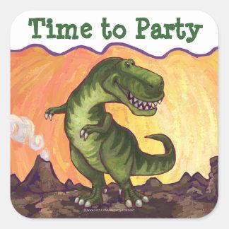 Tiempo de Rex del Tyrannosaurus para ir de fiesta Pegatina Cuadrada