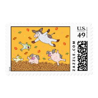 ¡Tiempo de salto de la hoja!  Vaca y amigos del Franqueo