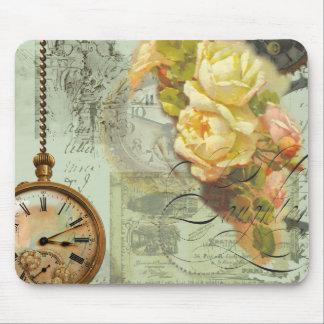 Tiempo de Steampunk y rosas amarillos Alfombrillas De Ratones