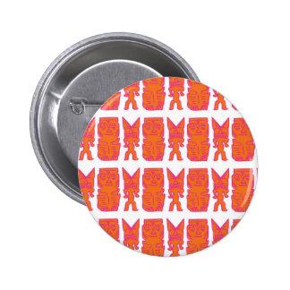 Tiempo de Tiki en naranja Pin Redondo 5 Cm