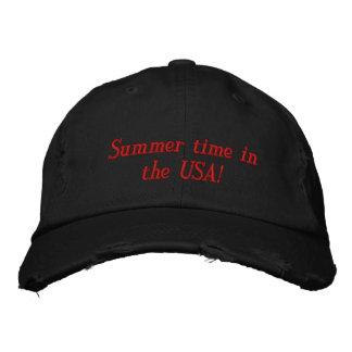 ¡Tiempo de verano en los E.E.U.U.! Gorra De Béisbol Bordada