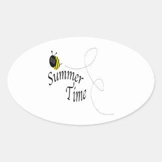 Tiempo de verano pegatina ovalada