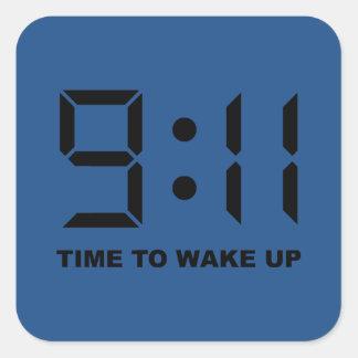 tiempo del 9:11 para despertar pegatinas cuadradases