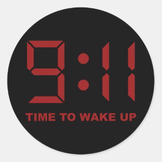 tiempo del 9:11 para despertar etiqueta redonda