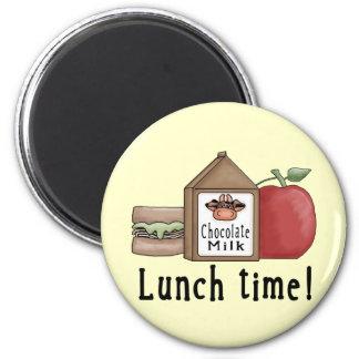 Tiempo del almuerzo imán redondo 5 cm