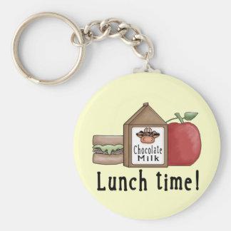 Tiempo del almuerzo llavero redondo tipo pin