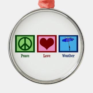 Tiempo del amor de la paz adorno navideño redondo de metal