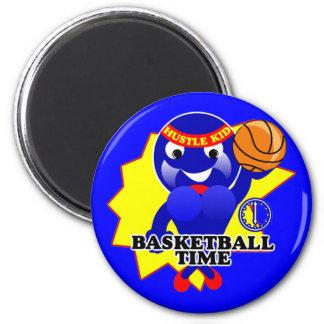 Tiempo del baloncesto imán redondo 5 cm