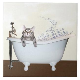 Tiempo del baño del gatito azulejo cuadrado grande