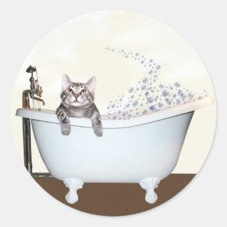 Tiempo del baño del gatito pegatina redonda