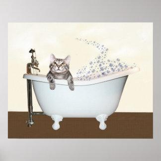 Tiempo del baño del gatito póster