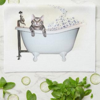 Tiempo del baño del gatito toalla