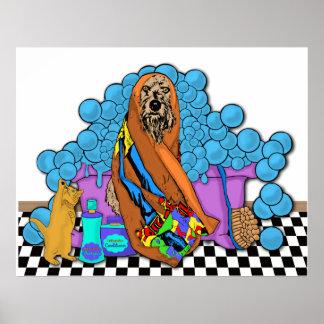 Tiempo del baño para los gatos y los perros póster