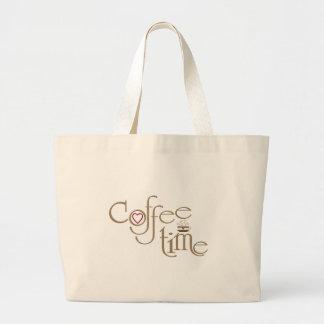 Tiempo del café bolsa tela grande