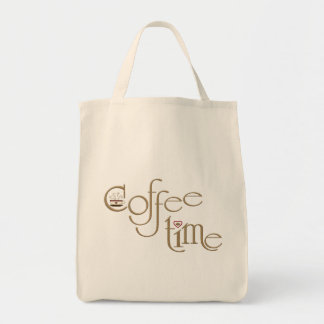 Tiempo del café bolsa tela para la compra
