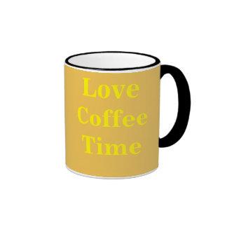 Tiempo del café del amor taza de dos colores