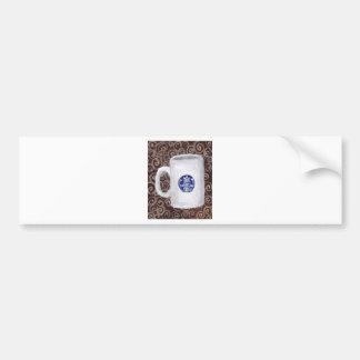 Tiempo del café en azul pegatina de parachoque