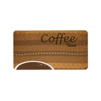 Tiempo del café etiqueta de dirección