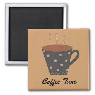 Tiempo del café imán para frigorifico