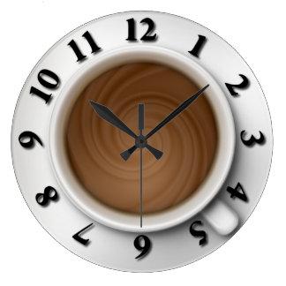 Tiempo del café reloj redondo grande
