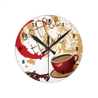 Tiempo del café reloj redondo mediano