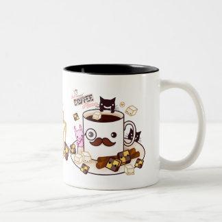 Tiempo del café taza de café de dos colores