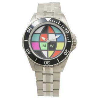 tiempo del color del globo del mundo relojes