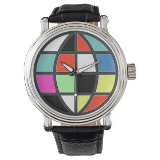 tiempo del color del globo del mundo relojes de mano