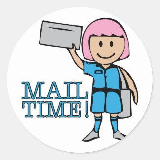 Tiempo del correo pegatina redonda