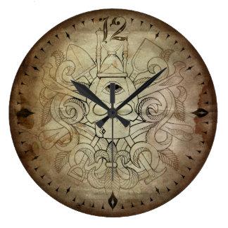 Tiempo del cráneo y de los huesos reloj redondo grande