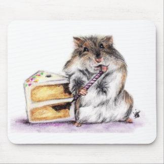 Tiempo del cumpleaños hámster Mousepad Tapete De Ratones