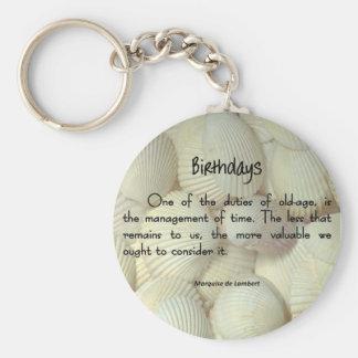 Tiempo del cumpleaños llavero redondo tipo pin