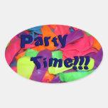 ¡Tiempo del fiesta!!! Calcomanía De Óval