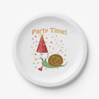 ¡Tiempo del fiesta de Confett! Caracol Plato De Papel 17,78 Cm
