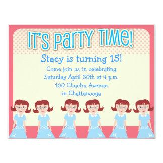"""Tiempo del fiesta del chica de los años 50 de la invitación 4.25"""" x 5.5"""""""