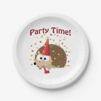 ¡Tiempo del fiesta! Erizo del confeti Plato De Papel 17,78 Cm
