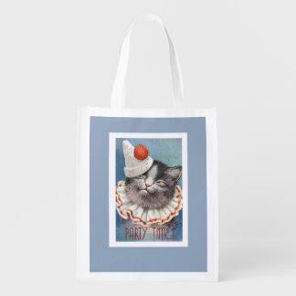 ¡Tiempo del fiesta!  Gato en el gorra del Bolsas Para La Compra