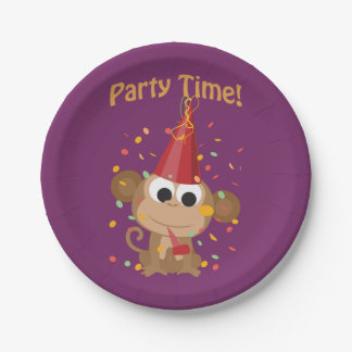 ¡Tiempo del fiesta! Mono del confeti Plato De Papel 17,78 Cm