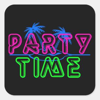 Tiempo del fiesta pegatina cuadrada