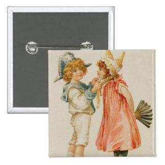 Tiempo del fiesta, postal del navidad pin cuadrada 5 cm