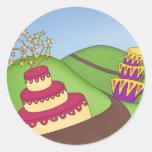 ¡Tiempo del fiesta - tortas caprichosas! Pegatina Redonda