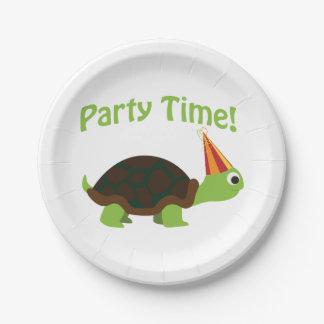 ¡Tiempo del fiesta! Tortuga Plato De Papel 17,78 Cm