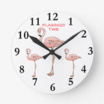 TIEMPO del FLAMENCO, 3 pájaros rosados del flamenc Reloj