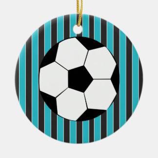 Tiempo del fútbol adorno redondo de cerámica