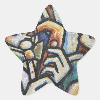 Tiempo del jazz pegatina en forma de estrella