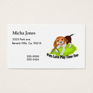 Tiempo del juego del amor de los mascotas también tarjetas de visita