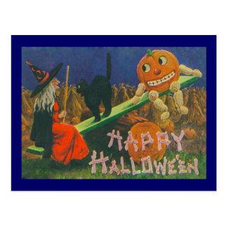 Tiempo del juego del feliz Halloween del vintage Tarjetas Postales